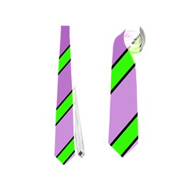 Purple and green lines Neckties (One Side)