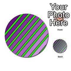 Purple and green lines Multi-purpose Cards (Round)