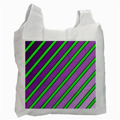 Purple and green lines Recycle Bag (One Side)
