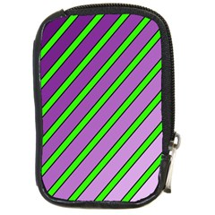 Purple and green lines Compact Camera Cases