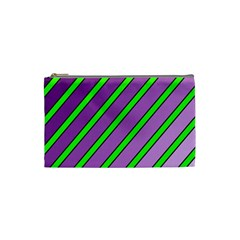 Purple and green lines Cosmetic Bag (Small)