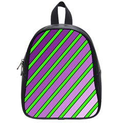 Purple and green lines School Bags (Small)