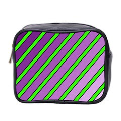 Purple and green lines Mini Toiletries Bag 2-Side