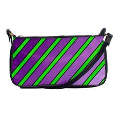 Purple and green lines Shoulder Clutch Bags