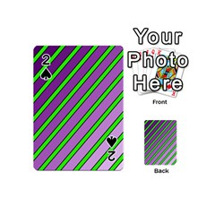 Purple and green lines Playing Cards 54 (Mini)