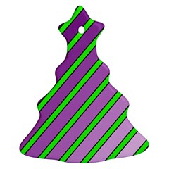 Purple and green lines Christmas Tree Ornament (2 Sides)