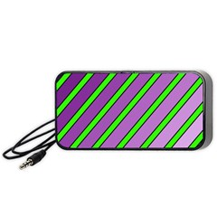 Purple and green lines Portable Speaker (Black)
