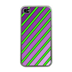Purple and green lines Apple iPhone 4 Case (Clear)