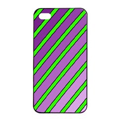 Purple and green lines Apple iPhone 4/4s Seamless Case (Black)