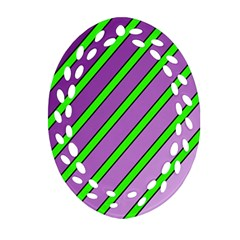 Purple and green lines Ornament (Oval Filigree)