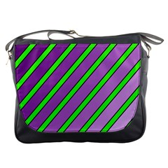 Purple and green lines Messenger Bags