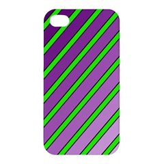 Purple and green lines Apple iPhone 4/4S Premium Hardshell Case