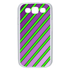 Purple and green lines Samsung Galaxy S III Case (White)