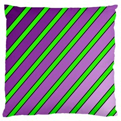 Purple and green lines Large Cushion Case (Two Sides)