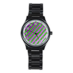 Purple and green lines Stainless Steel Round Watch