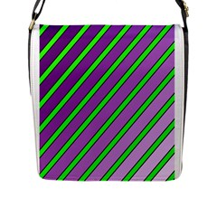 Purple and green lines Flap Messenger Bag (L)