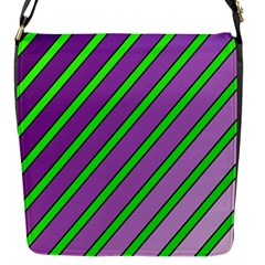 Purple and green lines Flap Messenger Bag (S)