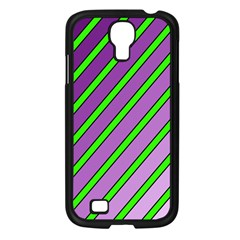 Purple and green lines Samsung Galaxy S4 I9500/ I9505 Case (Black)