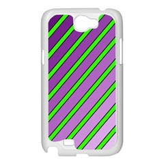 Purple and green lines Samsung Galaxy Note 2 Case (White)