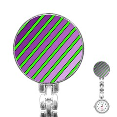 Purple and green lines Stainless Steel Nurses Watch