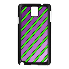 Purple and green lines Samsung Galaxy Note 3 N9005 Case (Black)