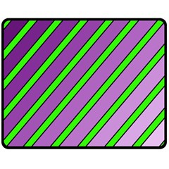 Purple and green lines Double Sided Fleece Blanket (Medium)