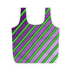 Purple and green lines Full Print Recycle Bags (M)
