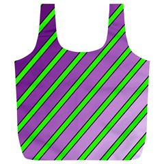 Purple and green lines Full Print Recycle Bags (L)