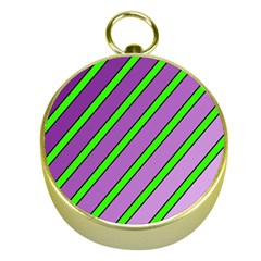 Purple and green lines Gold Compasses