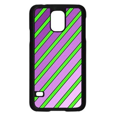 Purple and green lines Samsung Galaxy S5 Case (Black)
