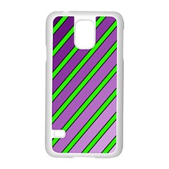 Purple and green lines Samsung Galaxy S5 Case (White)