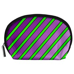 Purple and green lines Accessory Pouches (Large)