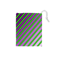 Purple and green lines Drawstring Pouches (Small)
