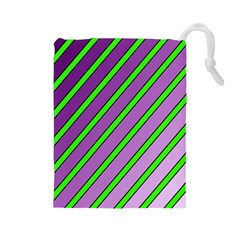 Purple and green lines Drawstring Pouches (Large)