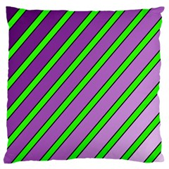 Purple and green lines Large Flano Cushion Case (One Side)