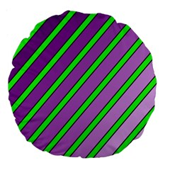 Purple and green lines Large 18  Premium Flano Round Cushions