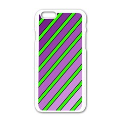 Purple and green lines Apple iPhone 6/6S White Enamel Case