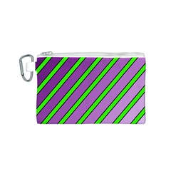 Purple and green lines Canvas Cosmetic Bag (S)