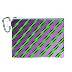 Purple and green lines Canvas Cosmetic Bag (L)
