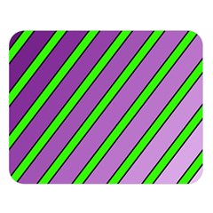 Purple and green lines Double Sided Flano Blanket (Large)