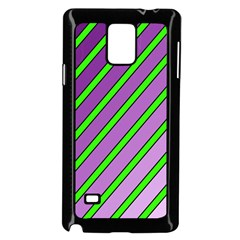 Purple and green lines Samsung Galaxy Note 4 Case (Black)