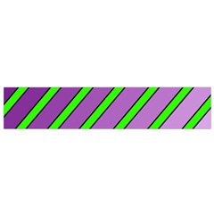 Purple and green lines Flano Scarf (Small)