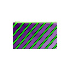 Purple and green lines Cosmetic Bag (XS)