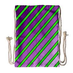 Purple and green lines Drawstring Bag (Large)