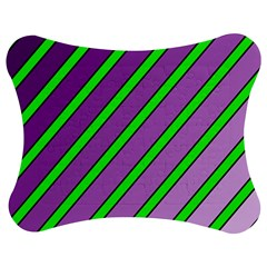 Purple and green lines Jigsaw Puzzle Photo Stand (Bow)