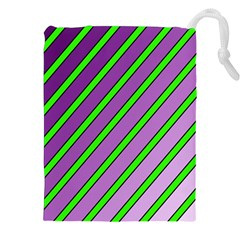 Purple and green lines Drawstring Pouches (XXL)