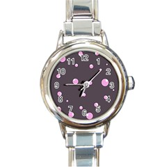 Pink bubbles Round Italian Charm Watch
