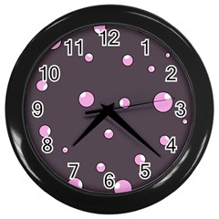 Pink bubbles Wall Clocks (Black)