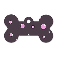 Pink bubbles Dog Tag Bone (One Side)