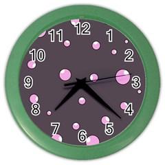 Pink bubbles Color Wall Clocks